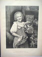 "Engraving Art Tabby Cat Havoc For Milk ""In Flagrante Delicto"" 1881Original!"