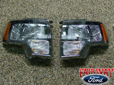 2009 thru 2014 Ford F-150 SVT Raptor Black Headlamp Headlight Set (pair)