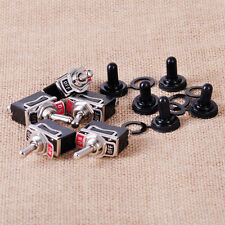 5Sets SPST 2 Terminal ON/OFF Toggle Switch & Rubber Cap Boot Cover Waterproof