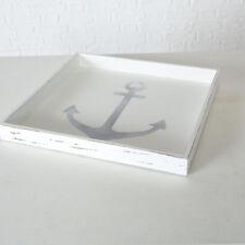 Decoración Bandeja Ancla XL Madera Blanco Marítimo Vintage 48cm Cuadrados