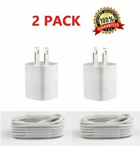 2PACK USB Home AC Wall charger For iPhone X Xs MAX 8 7 6 5 5S Cable White