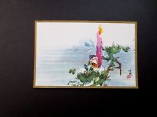 Vintage Unused Tyrus Wong Xmas Greeting Card Adorable Elf Resting by Candle