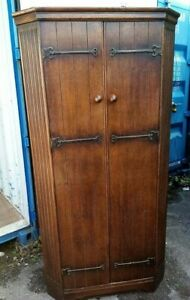 Vintage  carved oak wardrobe hall robe Reeded Canted Corners, 91cm wide g condit