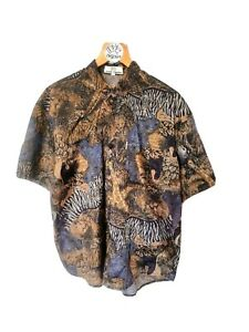 Vintage L XL SANT ANGELO 90s Silky 100% Cotton Shirt Crazy Safari Animal Pattern