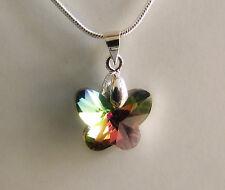 Colgante Mariposa Cristal Multicolor Tipo Swarovski y Cadena Chapada en Plata