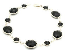 14K White Gold Fancy Cut Round and Oval Shaped Black Onyx Bracelet 8 Inches