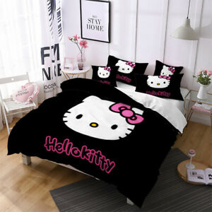 3D Hello Kitty Duvet Cover Cute Cat Bedding Set Quilt Cover PillowCase US Queen