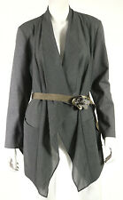 BRUNELLO CUCINELLI Gray Virgin Wool & Jersey Sleeve Flower Belted Jacket 50