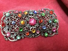 Vintage Filigree pressed Metal Czech Glass Multi Colour Paste Brooch Rectangular