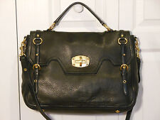 NEW Auth Miu Miu by Prada Large Cervo Turnlock Flap Satchel Shoulder Bag Handbag