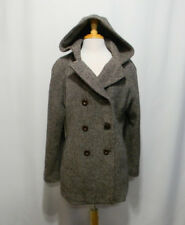Anne Klein Womens Coat Double Breasted Sz Size XL Lined Wool Hood Brown Peacoat