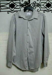 Calvin Klein Button Up Size 17 34/35 Slim Fit Gray Long Sleeve Non Iron