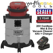Sealey Cordless Wet and Dry Vacuum Cleaner 20V 4Ah Battery Charger 20L Portable