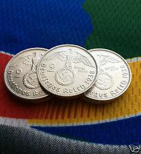 1938 A  WWII  2 Mark German Silver Coin (1) Third Reich Swastika Reichsmark