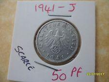 German 50 Reichspfennig 1941-J Third Reich Aluminium Coin WW2 pf