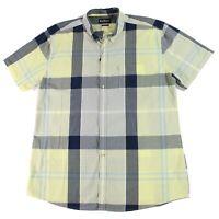 Barbour Mens Shirt Gray Yellow Size Medium M Button Down Pocket Plaid $99 #088