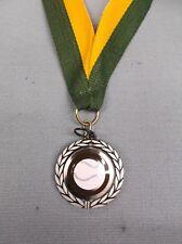 "color ball Baseball medal with green/gold neck drape silver 1 1/4"" diameter"