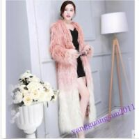 New Women Mongolian lamb Fur Furry Long Jacket Outwear Parka Warm Coat Overcoat