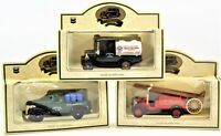 Lledo Die Cast Metal Truck Lot of Three Fire Truck, Red Crown, RPM Motor Oil NIB