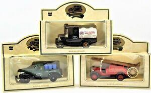 Lledo Die Cast Metal Truck Lot of Three Fire Truck, Red Crown, RPM Motor Oil NIB