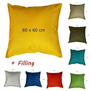 Outdoor Cushions WATERPROOF Garden Furniture Cushion Pad FILLED Square 60 x 60cm
