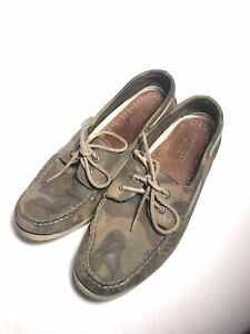Sperry Top Sider Men's 13 M Camo Camouflage Leather boat shoes summer nautical