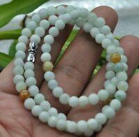 6x8mm  100/% Natural A Light green Emerald Jade  ~Necklace 25inch  LK001