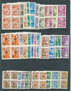 Hungary Selection of Fine Used stamps in blocks of 4 Air Craft Noted