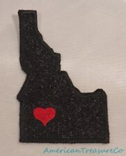 Embroidered Black Glitter Sparkle Idaho ID Love State Patch Iron On Sew USA