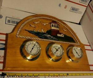 Vintage Sunbeam Lighthouse Weather Station Thermometer Barometer Humidity & KEY