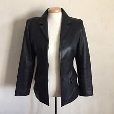 Kenneth Cole Reaction black leather blazer jacket size small lined two pockets