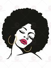 PAINTING DRAWING WOMAN WITH AFRO HAIRSTYLE LIPSTICK ART PRINT POSTER MP3887A