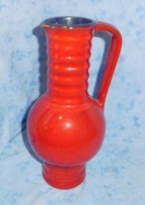 Fat Lava Keramik Vase mit Henkel ROT 70er Jahre rockabilly  Space Age vintage!