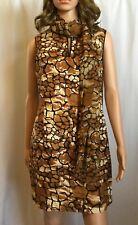 Leopard Teri Jon by Richie Freeman Dress With Matching Scarf Size 6