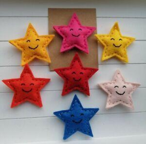 A Cute Handmade Smiling Felt Star Badge/Brooch, 5cm across, with card ideal gift