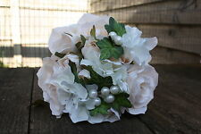 VINTAGE CREAMY IVORY SILK ROSE HYDRANGEA & PEARL SMALL BOUQUET / TIED BUNCH