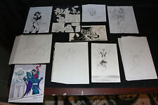 Misc Drawings and STATs 14pc LOT - Sketch by Ron Frenz