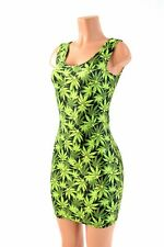 LARGE Spandex Bodycon Cannabis Leafy Green Print Tank Dress NWT Ready To Ship!
