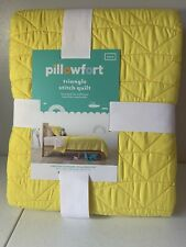 Pillowfort Triangle Stitch Yellow Twin Quilt
