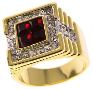 Mens Red True Blood Ruby simulated 14k gold overlay Ring size 13 T4