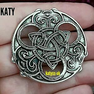 Vintage Style Silver Infinity Triquetra Celtic Knot Round Viking Brooch Pin Gift