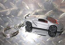 2014 Hot Wheels Silver Lamborghini Sesto Elemento Key Chain Ring!