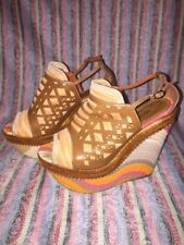 MISSONI women's leather and knit sandals size EURO 40 US 9 VGUC platform