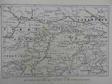 1916 WAR MAP OF THE CARNIC ALPS AT CENTRE OF THE AUSTRO-ITALIAN FRONT WWI WW1