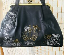 VTG 1960s TYPE GREY FRAMED KELLY STYLE HANDBAG WITH EMBROIDERY.