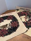 Vtg NEW Christmas Apple Poinsettia Jacquard Loomed Tapestry Olde Greensborough