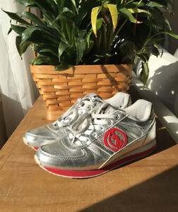 RARE Baby Phat Lace Up Sneakers Womens 8 Vintage Silver Red Sparkle