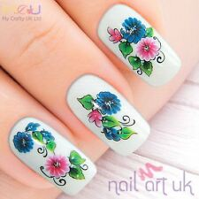 Blue & Pink Water Decal Nail Art Stickers, Decals, Tattoos