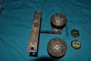 1 SET OF SOLID BRASS DOOR KNOBS, ROSETTES, LOCK SET, KEY HOLE, SPINDLE,  # 57