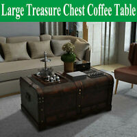 Large Wooden Treasure Chest Brown Coffee Table Storage Trunk Antique Style Box√